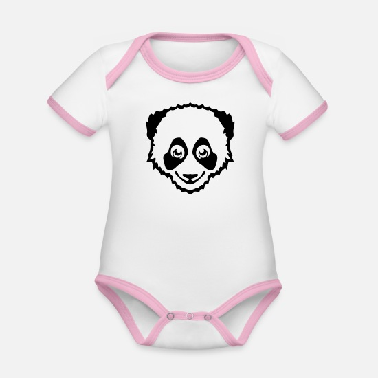 Panda Baby Clothes - funny panda drawing 801 - Organic Contrast Baby Bodysuit white/rose