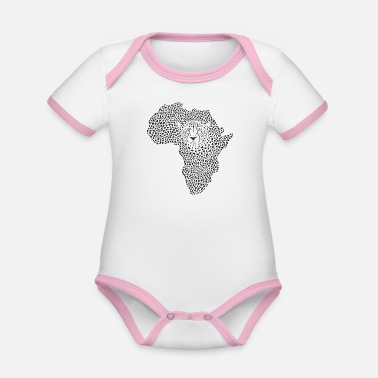 Symbol Africa in cheetah camouflage - Organic Contrast Baby Bodysuit