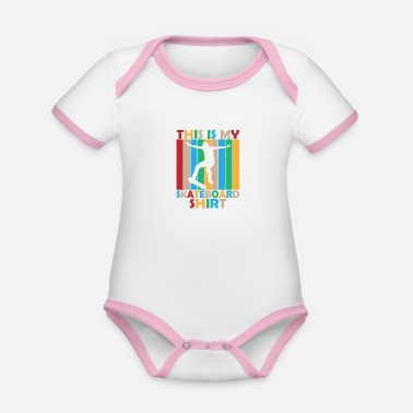 Kickflip This is my skateboard shirt gift sport - Organic Contrast Baby Bodysuit