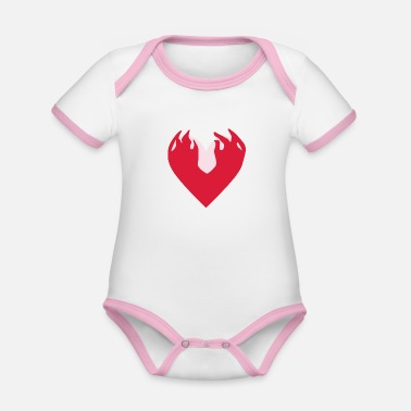 Cleavage Rosalía's Heart in With Height - Organic Contrast Baby Bodysuit