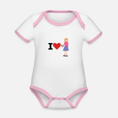 Officialbrands i love mum mother's day gift for mum and mother - Organic Contrast Baby Bodysuit
