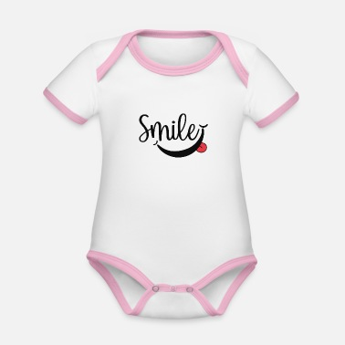 Smile font - Organic Contrast Baby Bodysuit