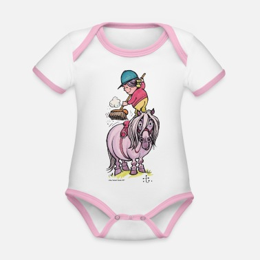 Thelwell Rider Cleaning Their Horse - Organic Contrast Baby Bodysuit