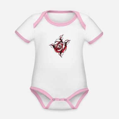 Red Rose Red rose - Organic Contrast Baby Bodysuit