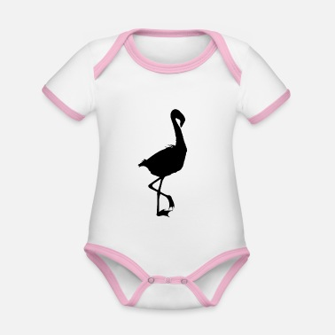 South East Asia Flamingo Shadowed - Organic Contrast Baby Bodysuit