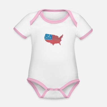 Stars USA - stars and stripes - Baby Bio Kurzarmbody zweifarbig