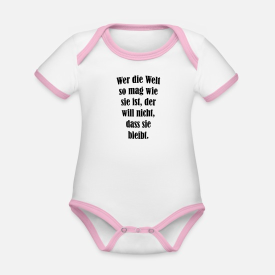 Sayings Baby Clothes - cool sayings - Organic Contrast Baby Bodysuit white/rose