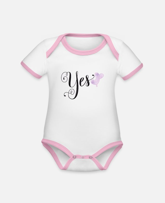 Hen Night Baby Bodysuits - Wedding: Yes, I want - Organic Contrast Baby Bodysuit white/rose