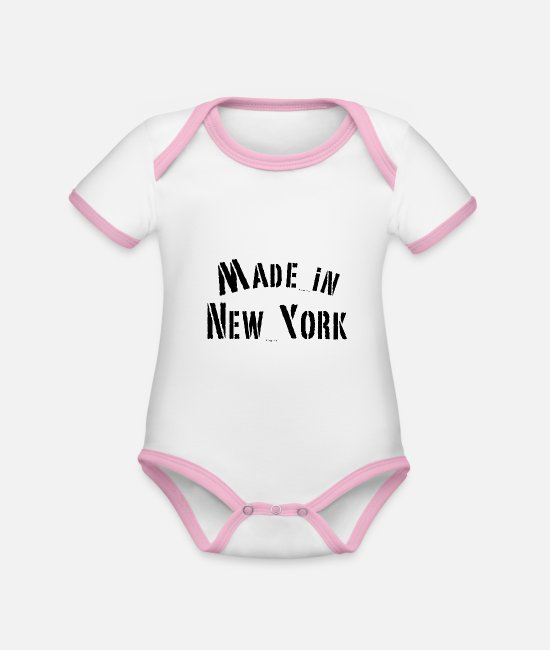Birthday Baby Clothes - Made in New York - Organic Contrast Baby Bodysuit white/rose