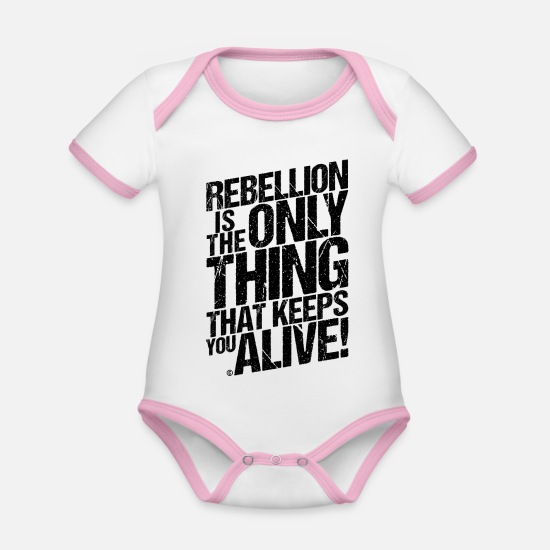 Rebellion Baby Clothes - REBELLION DISTRESSED - Organic Contrast Baby Bodysuit white/rose