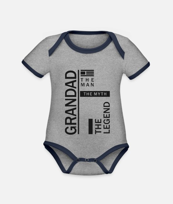Grandpa Baby Bodysuits - Grandad The Legend - Organic Contrast Baby Bodysuit heather grey/navy
