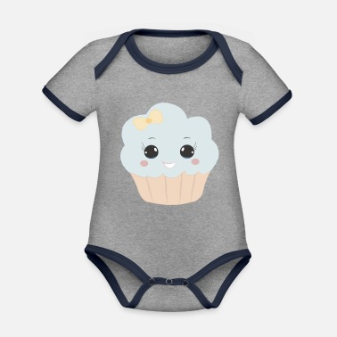 Beady Eyes Cute muffin with ribbon button eyes gift - Organic Contrast Baby Bodysuit