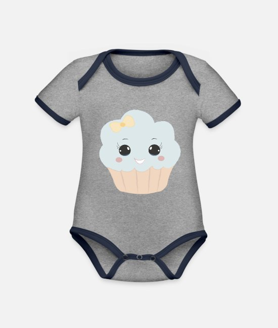Beady Eyes Baby Bodysuits - Cute muffin with ribbon button eyes gift - Organic Contrast Baby Bodysuit heather grey/navy