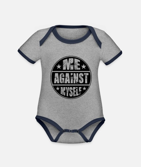 Sayings Baby Clothes - workout - Organic Contrast Baby Bodysuit heather grey/navy
