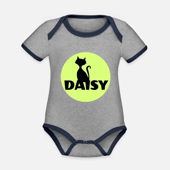 First Name Baby Clothes - Daisy First name Name Cat name - Organic Contrast Baby Bodysuit heather grey/navy