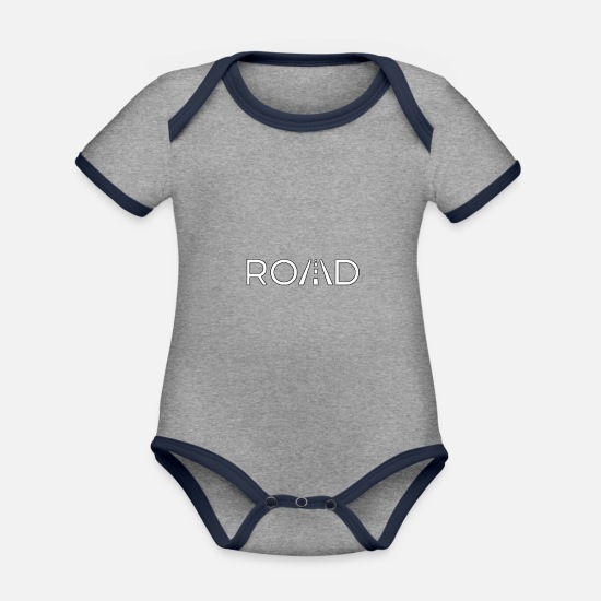 Gift Idea Baby Clothes - Road - Organic Contrast Baby Bodysuit heather grey/navy