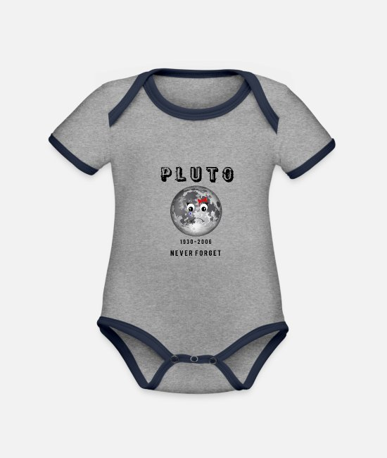 Earth Baby Bodysuits - Pluto mourning oblivion irony joke gift - Organic Contrast Baby Bodysuit heather grey/navy