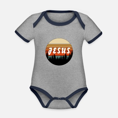 What Jesus Retro Vintage Sunset - Christian - Organic Contrast Baby Bodysuit