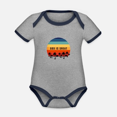 Christ GOd Is Great Vintage Retro Sunset - Christian - Organic Contrast Baby Bodysuit