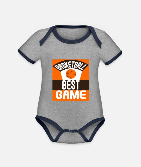 Christmas Baby Bodysuits - cool basketball team coach trainer gift - Organic Contrast Baby Bodysuit heather grey/navy