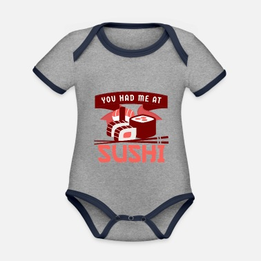 You Had Me At Sushi - I Love Sushi Rice Seaweed - Organic Contrast Baby Bodysuit
