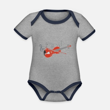 Fiddlestick Violin violin player lover gift idea motif - Organic Contrast Baby Bodysuit