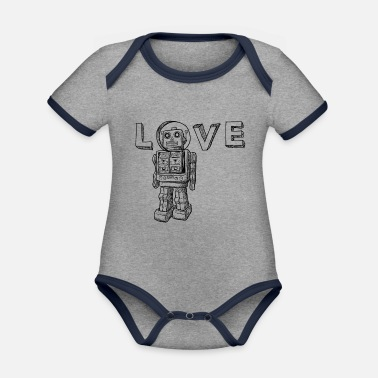 Geek Love Robots Gifts for kids, boy, girl, adults, dad - Organic Contrast Baby Bodysuit