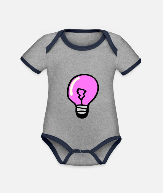 Brilliant Baby Bodysuits - Light bulb - Organic Contrast Baby Bodysuit heather grey/navy