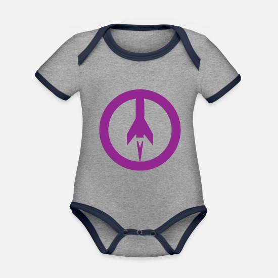 Missile Baby Clothes - Missile+peace - Organic Contrast Baby Bodysuit heather grey/navy