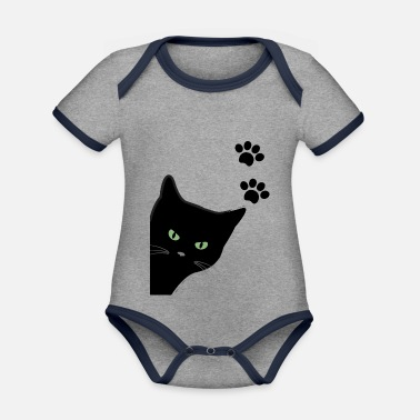 kitty's green eyes cat - Organic Contrast Baby Bodysuit