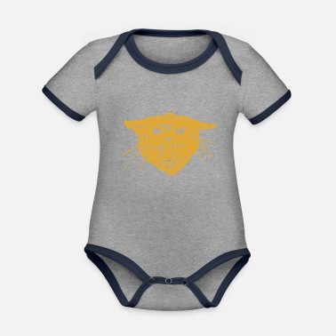 Officialbrands Cool t-shirt cat cat head tiger gift idea - Organic Contrast Baby Bodysuit