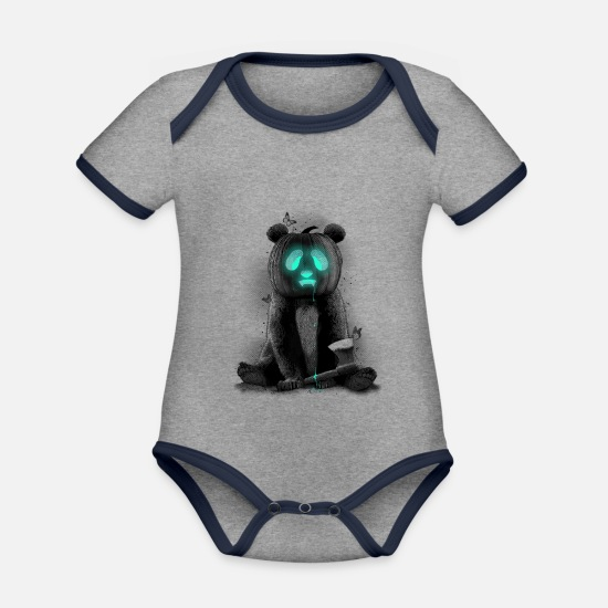 Panda Baby Clothes - PANDALOWEEN - Organic Contrast Baby Bodysuit heather grey/navy