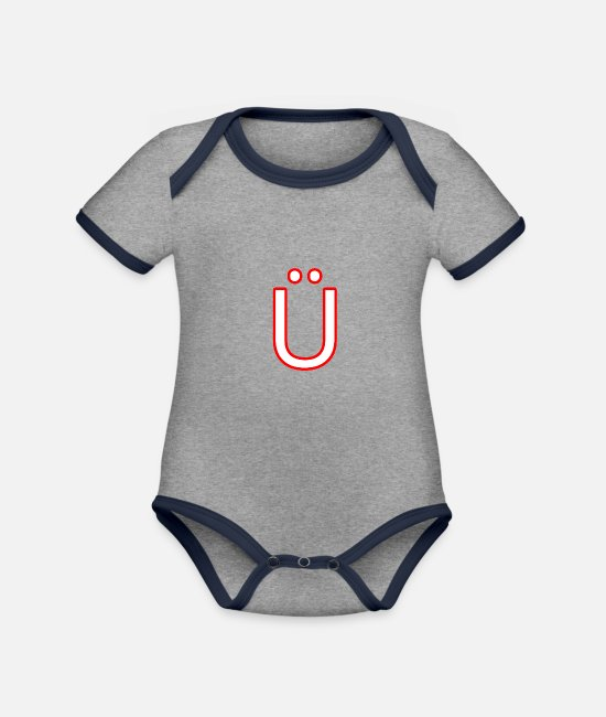 Alphabet Baby Bodysuits - Ue - Organic Contrast Baby Bodysuit heather grey/navy