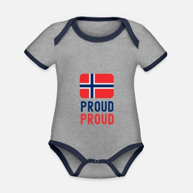 Proud Proud Proud to be Norwegian - Organic Contrast Baby Bodysuit
