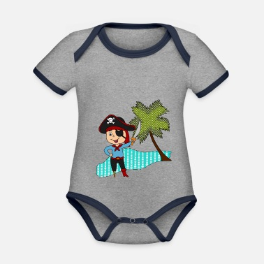 Île Pirate Sword Island Palm Tree Cartoon Idée Cadeau - Body Bébé bio contrasté