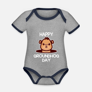 Marmota Glad Groundhog Day design Awesome Cute Groundhog - Økologisk kontrast babybody