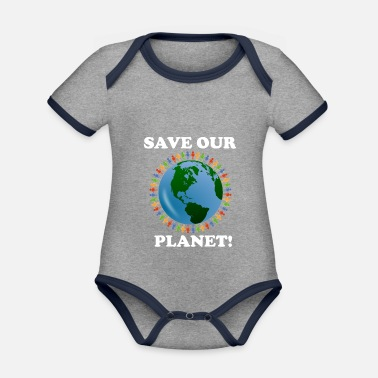 Earth Save our planet - Organic Contrast Baby Bodysuit