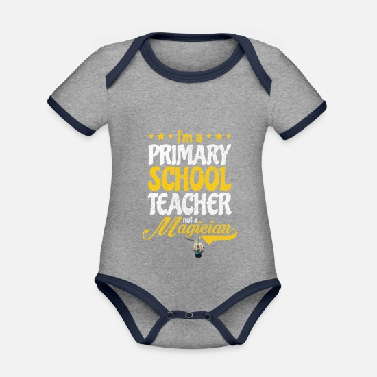 Gift Idea Baby Clothes - Teacher Magician Elementary School Gift - Organic Contrast Baby Bodysuit heather grey/navy