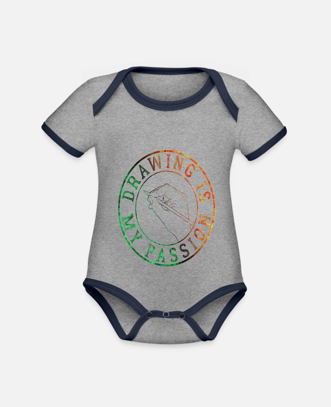 Artist Baby Bodysuits - To draw - Organic Contrast Baby Bodysuit heather grey/navy