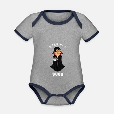 Grumpy In The Morning Vampire morning grumpy grumpy tired monday gift - Organic Contrast Baby Bodysuit