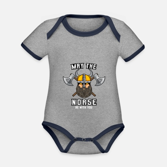 Raven Baby Clothes - norman be with you odin Mjolnir thor viking gift - Organic Contrast Baby Bodysuit heather grey/navy