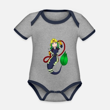 Meejungfrau Mermaid firefighter fire department fire chief - Organic Contrast Baby Bodysuit