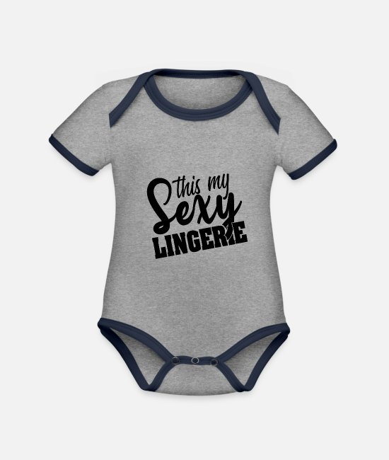 Meme Baby Bodysuits - Sexy Underwear Halloween Ears Costume Gifts - Organic Contrast Baby Bodysuit heather grey/navy