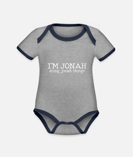 First Name Baby Clothes - Jonah - Organic Contrast Baby Bodysuit heather grey/navy