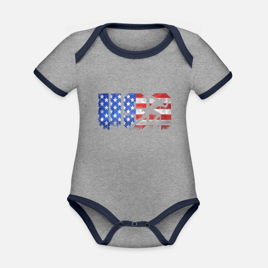 Running Baby Clothes - American flag US USA Track Run - Organic Contrast Baby Bodysuit heather grey/navy