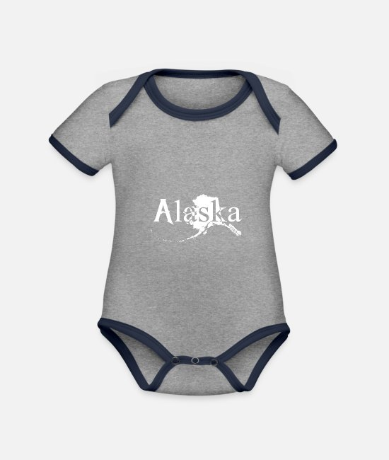 4th Of July Baby Bodysuits - Alaska alaskan citizen shirt - Organic Contrast Baby Bodysuit heather grey/navy