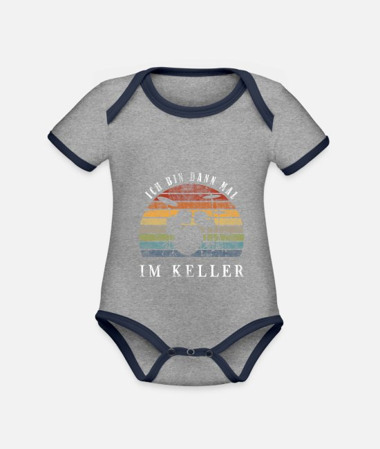 Drummer Baby Bodysuits - I'll be in the basement - drums - Organic Contrast Baby Bodysuit heather grey/navy