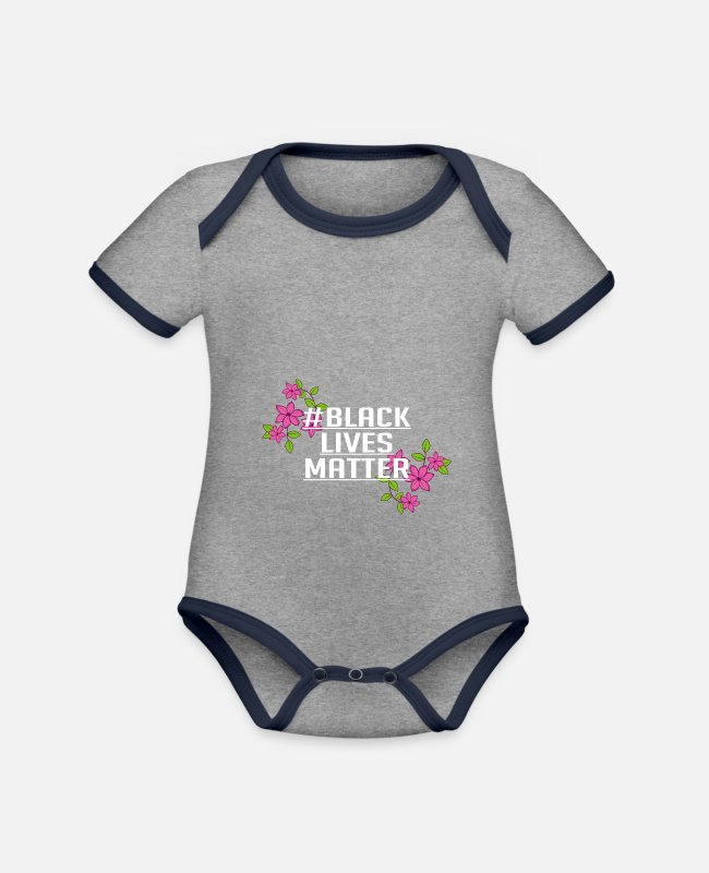 Protest Baby Bodysuits - Black Lifes Matter Flower Anti Racist Gifts - Organic Contrast Baby Bodysuit heather grey/navy