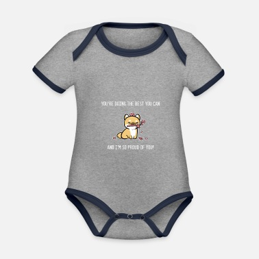 I am proud of you Positive Person Gift - Organic Contrast Baby Bodysuit