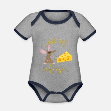 Just Say Cheese For Kids The Mouse Loves Cheese I - Organic Contrast Baby Bodysuit